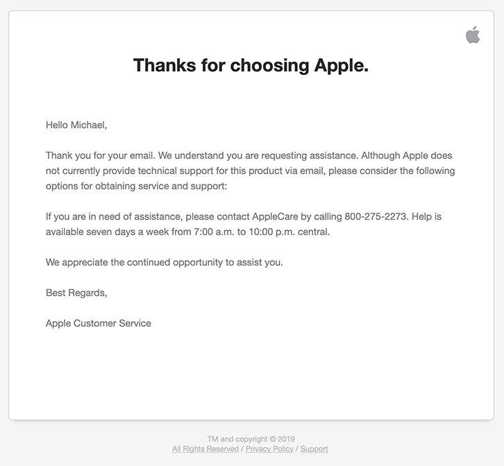 Apple's email reply